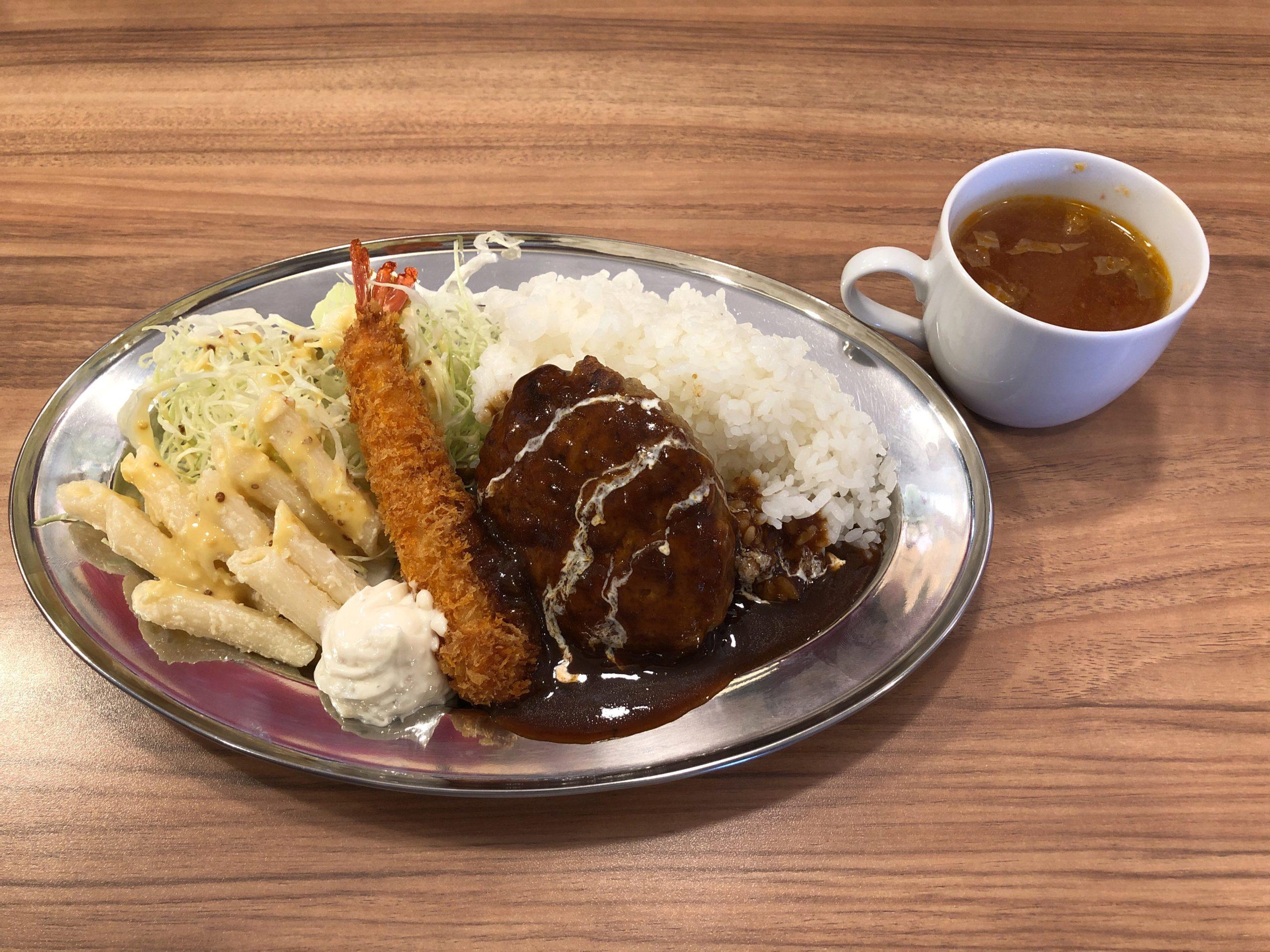 鶴田方面に11月14日オープンした洋食屋さん「Bee'sKitchen(ビーズキッチン)」に初訪問、ハンバーグとエビフライプレートを食べてきました