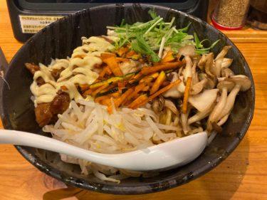 「麺道 花の社」初訪問 きのこたっぷり「照り焼チキンのまぜそば」を食べてきた